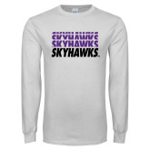 White Long Sleeve T Shirt-Skyhawks Repeating