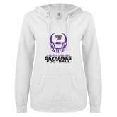 ENZA Ladies White V Notch Raw Edge Fleece Hoodie-Football Helmet Design