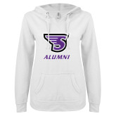 ENZA Ladies White V Notch Raw Edge Fleece Hoodie-Alumni