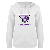 ENZA Ladies White V Notch Raw Edge Fleece Hoodie-Grandma