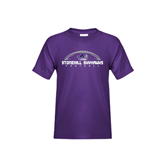 Youth Purple T Shirt-Arched Football Design