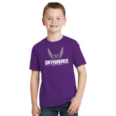 Youth Purple T Shirt-Track and Field Wings Design