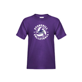 Youth Purple T Shirt-Volleyball Stars Design
