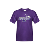 Youth Purple T Shirt-Soccer Swoosh