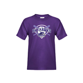Youth Purple T Shirt-Softball Design w/ Bats and Plate