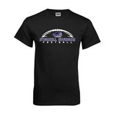 Black T Shirt-Arched Football Design