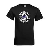 Black T Shirt-Volleyball Stars Design