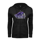 ENZA Ladies Black Fleece Full Zip Hoodie-Field Hockey