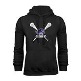 Black Fleece Hood-Lacrosse Sticks Design