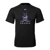 Under Armour Black Tech Tee-Hockey Crossed Sticks