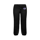 ENZA Ladies Black Banded Fleece Capri-Official Logo