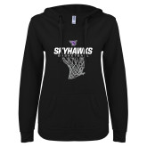 ENZA Ladies Black V Notch Raw Edge Fleece Hoodie-Basketball Net Design