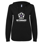 ENZA Ladies Black V Notch Raw Edge Fleece Hoodie-Distressed Soccer Ball Design