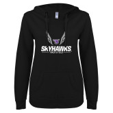 ENZA Ladies Black V Notch Raw Edge Fleece Hoodie-Track and Field Wings Design