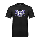 Syntrel Performance Black Tee-Softball Design w/ Bats and Plate