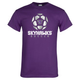 Purple T Shirt-Distressed Soccer Ball Design