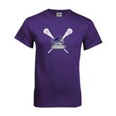 Purple T Shirt-Lacrosse Sticks Design
