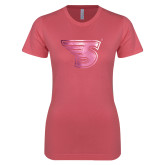 Next Level Ladies SoftStyle Junior Fitted Pink Tee-Primary Mark  Foil