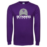 Purple Long Sleeve T Shirt-Baseball Hat Design