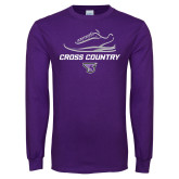 Purple Long Sleeve T Shirt-Cross Country Shoe Design