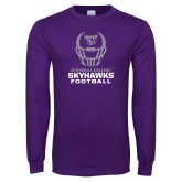 Purple Long Sleeve T Shirt-Football Helmet Design