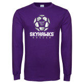 Purple Long Sleeve T Shirt-Distressed Soccer Ball Design
