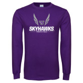 Purple Long Sleeve T Shirt-Track and Field Wings Design