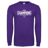 Purple Long Sleeve T Shirt-2018 Womens Indoor Track and Field Champions