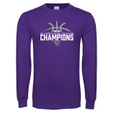 Purple Long Sleeve T Shirt-Womens Basketball Regular Season Champions