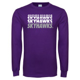 Purple Long Sleeve T Shirt-Skyhawks Repeating
