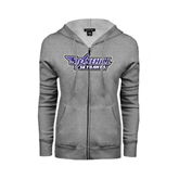 ENZA Ladies Grey Fleece Full Zip Hoodie-Stonehill Skyhawks