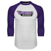 White/Purple Raglan Baseball T Shirt-Stonehill Skyhawks