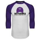 White/Purple Raglan Baseball T Shirt-Baseball Hat Design