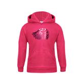 Youth Raspberry Fleece Hood-Official Logo Foil, Fuchsia MG39-714G