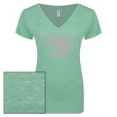 ENZA Ladies Seaglass Melange V Neck Tee-Primary Mark White Soft Glitter