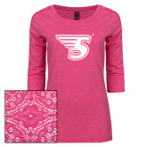 Ladies Dark Fuchsia Heather Lace 3/4 Sleeve Tee-Primary Mark