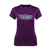 Ladies Syntrel Performance Purple Tee-Stonehill Skyhawks