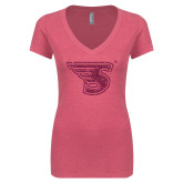 Next Level Ladies Vintage Pink Tri Blend V Neck Tee-Primary Mark Hot Pink Glitter