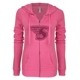 ENZA Ladies Hot Pink Light Weight Fleece Full Zip Hoodie-Primary Mark Hot Pink Glitter