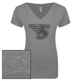 ENZA Ladies Graphite Melange V Neck Tee-Primary Mark Graphite Soft Glitter
