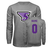 Grey Long Sleeve T Shirt-Primary Mark, Custom Tee w/ Name and #