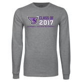 Grey Long Sleeve T Shirt-Class of Stacked Personalized Year, Personalized Year