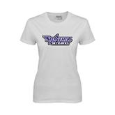 Ladies White T Shirt-Stonehill Skyhawks