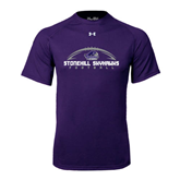 Under Armour Purple Tech Tee-Arched Football Design