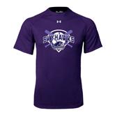 Under Armour Purple Tech Tee-Softball Design w/ Bats and Plate