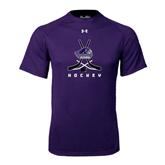Under Armour Purple Tech Tee-Hockey Crossed Sticks