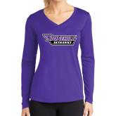 Ladies Syntrel Performance Purple Longsleeve Shirt-Stonehill Skyhawks