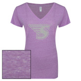 ENZA Ladies Violet Melange V Neck Tee-Primary Mark White Soft Glitter