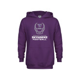 Youth Purple Fleece Hoodie-Football Helmet Design