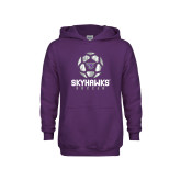 Youth Purple Fleece Hoodie-Distressed Soccer Ball Design